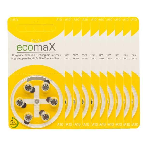 Sparpack 60 x ecomaX A10 Hörgerätebatterien